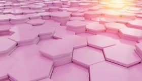 桃红色hexagone背景样式3D翻译 向量例证