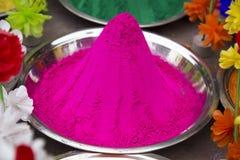 桃红色Holi粉末,印度 库存图片