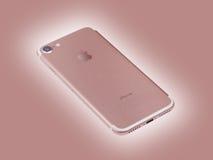桃红色iPhone 7新的苹果计算机产品 库存图片