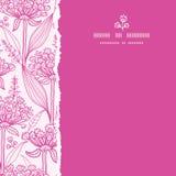桃红色lillies lineart正方形被撕毁的无缝的样式 库存图片