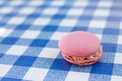 桃红色macaron坐一个蓝色检查样式 免版税库存照片