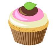 桃红色menthe杯形蛋糕 免版税库存照片