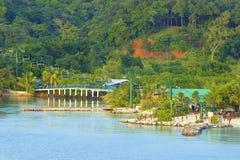 桃花心木海湾全景在Roatan,洪都拉斯 免版税库存照片
