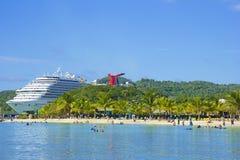 桃花心木海湾在Roatan,洪都拉斯 免版税库存图片
