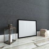 画框大模型对黑暗的墙壁 内部 库存照片