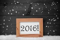 画框有灰色背景, 2016年,雪,雪花 免版税库存照片