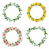 框架与上升了 套圆的花卉边界 皇族释放例证