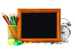 框架和学校工具 在空白背景 免版税库存图片