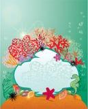 框架和珊瑚礁和海洋人生的背景。 免版税图库摄影