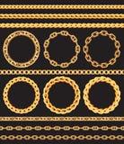 框架和边界由金黄链子做成 免版税库存照片
