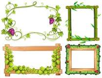 框架四个不同设计与绿色叶子的 皇族释放例证