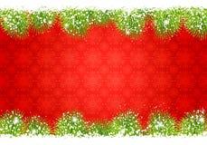 框架圣诞节冷杉和雪 免版税库存照片