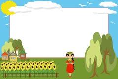 框架女孩向日葵 免版税库存照片