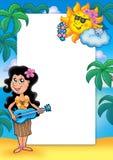框架女孩夏威夷人 免版税库存图片
