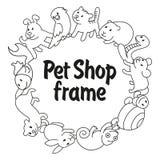 框架宠物店,宠物的类型 库存照片