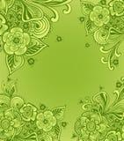 框架或背景与乱画开花以绿色 免版税库存图片