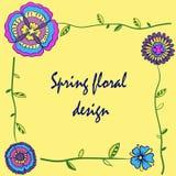 框架春天五颜六色的花 库存例证