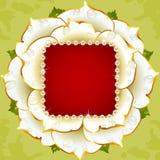 框架珍珠玫瑰色婚礼白色 免版税库存图片