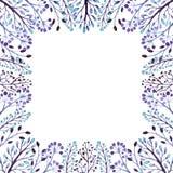 框架用水彩浅兰和淡紫色莓果 免版税库存图片