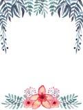 框架用水彩莓果,明亮的热带花,绿色和蓝色叶子 库存图片