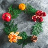 框架由冬天树做成,石榴石,普通话 桂香和茴香在黑暗的背景 概念新年度 平的位置 顶视图 库存照片