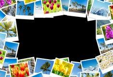 框架由各种各样的自然照片制成 免版税图库摄影