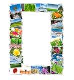 框架由各种各样的自然照片制成 免版税库存照片