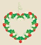框架由心脏形状,装饰品制成用草莓 皇族释放例证