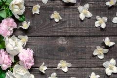 框架由桃红色和白玫瑰和茉莉花花制成在土气木背景 平的位置 顶视图 免版税图库摄影