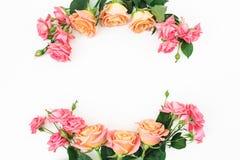 框架由玫瑰做成在白色背景开花 平的位置,顶视图 库存照片