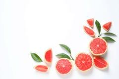 框架由葡萄柚和叶子制成在白色背景,顶视图 柑橘水果 免版税库存图片