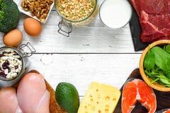 框架由高蛋白食物-鱼、肉、禽畜、坚果、鸡蛋、牛奶和菜制成 健康吃和饮食概念 免版税库存图片