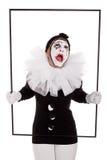 框架的一个女性小丑哭泣 库存图片