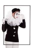 框架的女性小丑哭泣 免版税库存照片