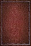 框架皮革老红色银色纹理 免版税图库摄影