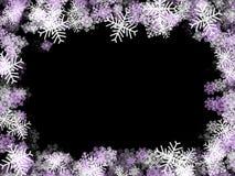 框架紫色雪花 免版税图库摄影