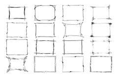 框架被设置的向量 图象的长方形 突出边界的手拉的黑色隔绝在白色背景 库存例证