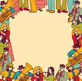 框架边界卡片音乐家带颜色 免版税图库摄影
