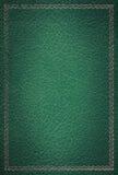 框架金子绿色皮革老纹理 库存图片