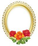 框架金黄卵形玫瑰向量 库存例证