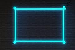 框架霓虹灯广告砖墙 免版税库存照片