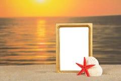 框架,套在沙子的海海扇壳 库存图片