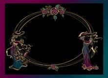 框架,明信片 帽子的葡萄酒女孩有伞的 卵形框架 金子 向量 向量例证