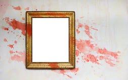 框架grunge油漆喷溅葡萄酒 库存照片