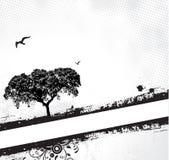 框架grunge结构树 免版税库存照片