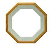 框架octogonal照片木头 库存图片