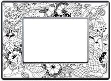 框架zentangle,传染媒介图象 花卉手拉 皇族释放例证