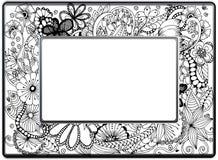 框架zentangle,传染媒介图象 花卉手拉 免版税库存照片