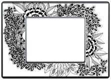 框架zentangle,传染媒介图象 花卉手拉 库存图片