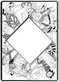 框架zentangle,传染媒介图象 花卉手拉 免版税库存图片